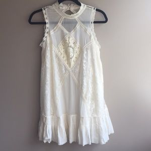 Free People cream lace babydoll dress